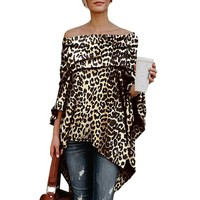 Stylish Women Slash Neck Casual Slim Leopard Printed Blouse Top Sexy Spring Autumn Blouse Shirts Night Club Clothes EFC401