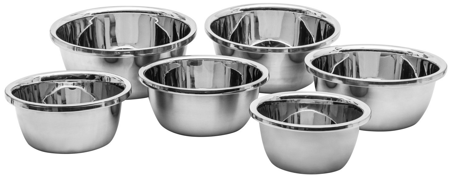 6 Piece Set Stainless Steel Flat Base Mixing Bowls - Hand of the Chef (6Pcs 1.16-1.7 - 2.22-2.9 - 3.7-4.2) Quart Polished Mirror Finish Easy Grip for Whisking Beating Nesting Stackable