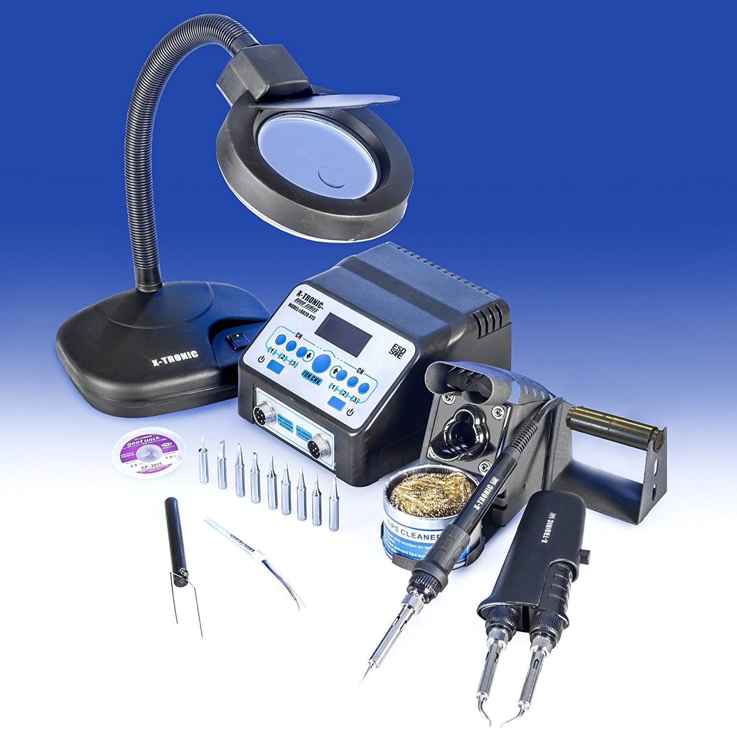 """USA EXCLUSIVE"" X-TRONIC 8020-XTS - ""2 IN 1"" Antistatic Digital Soldering Iron Station and Hot Tweezers - ESD Safe - C/F - Brass Tip Cleaner & Flux - IC Popper - 5X Magnifying Lamp"