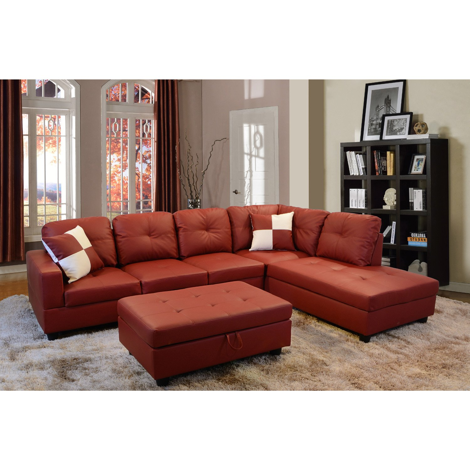 Buy 3 Pcs Sectional Set Faux Leather Caramel Espresso Color