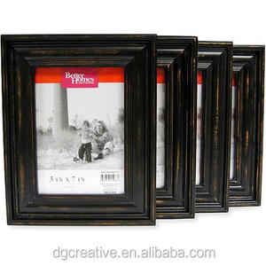 Better Homes and Gardens Distressed Black Wood 5x7 Set of 4 Picture Frames,