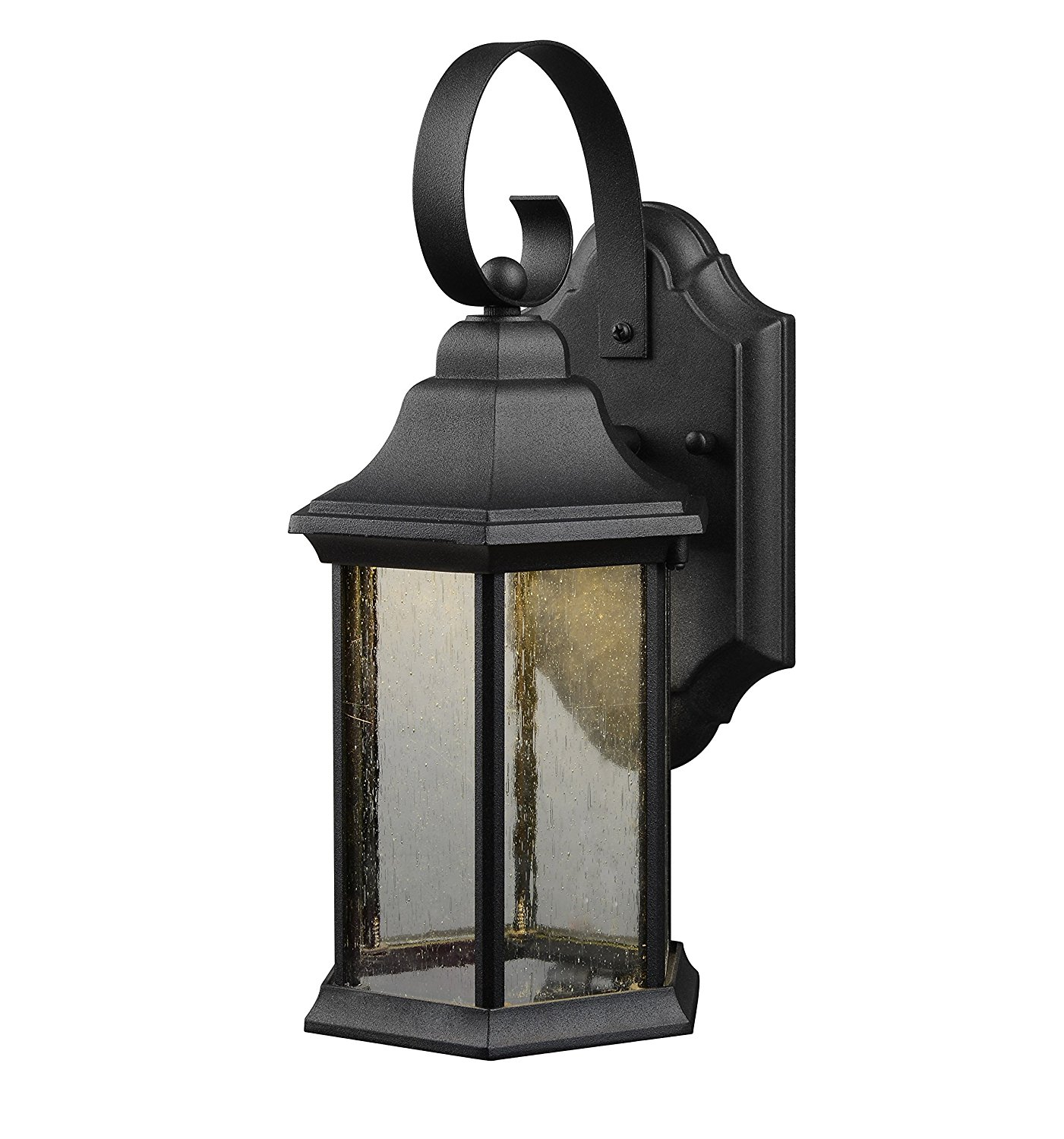 Hardware House LLC 21-1932 1-Light Led Lantern Black with Frosted Glass Lantern Wall Fixture with 1-Light Comes with Seedy Style Glass Uses (1) 10W Led Bulb - Included