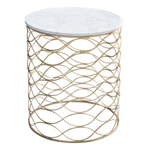 Small Round Modern Creative MDF Marble Veneer Top Coffee Side Table