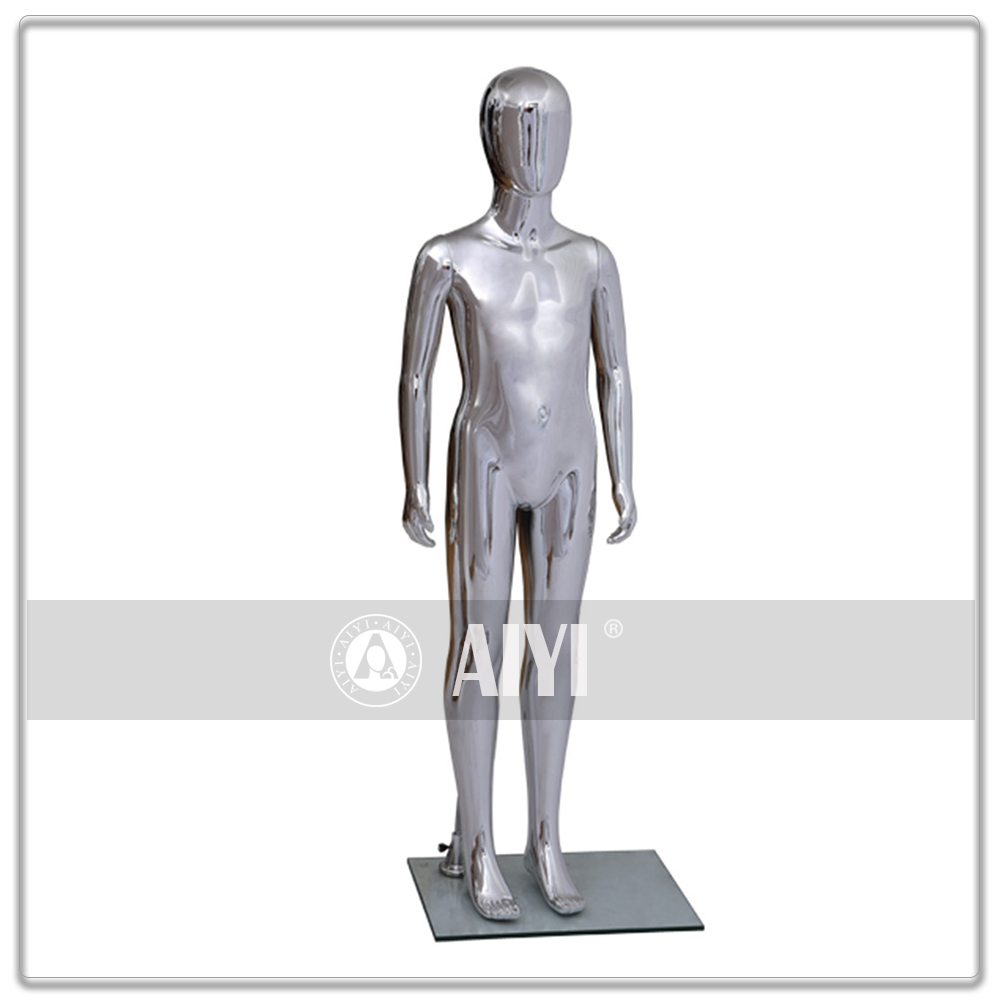 Kids Plastic Silver Chrome Mold Mannequin Girl And Boy