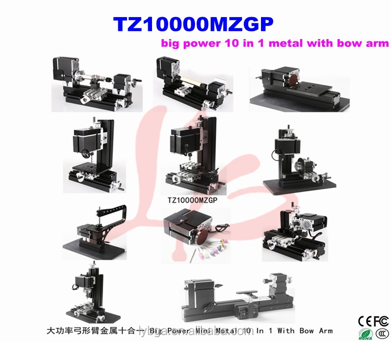 mini cnc wood machine TZ10000MZGP,with bow arm 10 in 1 kit mini lathe
