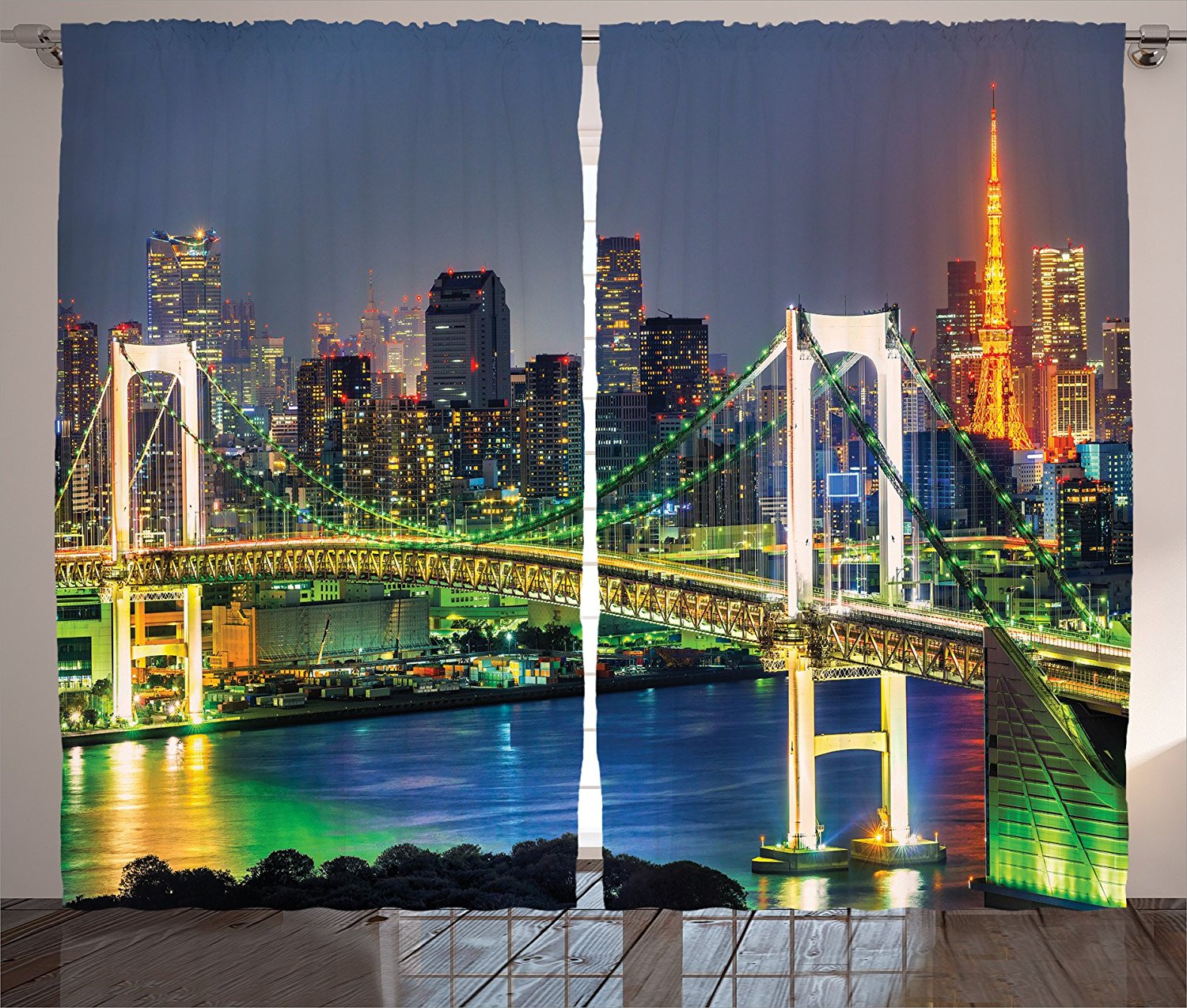 Apartment Decor Curtains by Ambesonne, Tokyo Skyline with Tokyo Tower and Rainbow Bridge Tokyo Japan Night Scenery View, Living Room Bedroom Decor, 2 Panel Set, 108W X 84L Inches, Green Navy