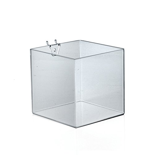 "Lot of 4 New Clear cube shaped bin for slatwall/Pegboard 6"" W x 6"" D x 6"" H"