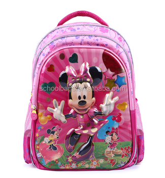 Baby Girls Cartoon Minnie Mouse School Bag Kids 3D Lenticular Pattern  Backpacks Kindergarten Book Bags