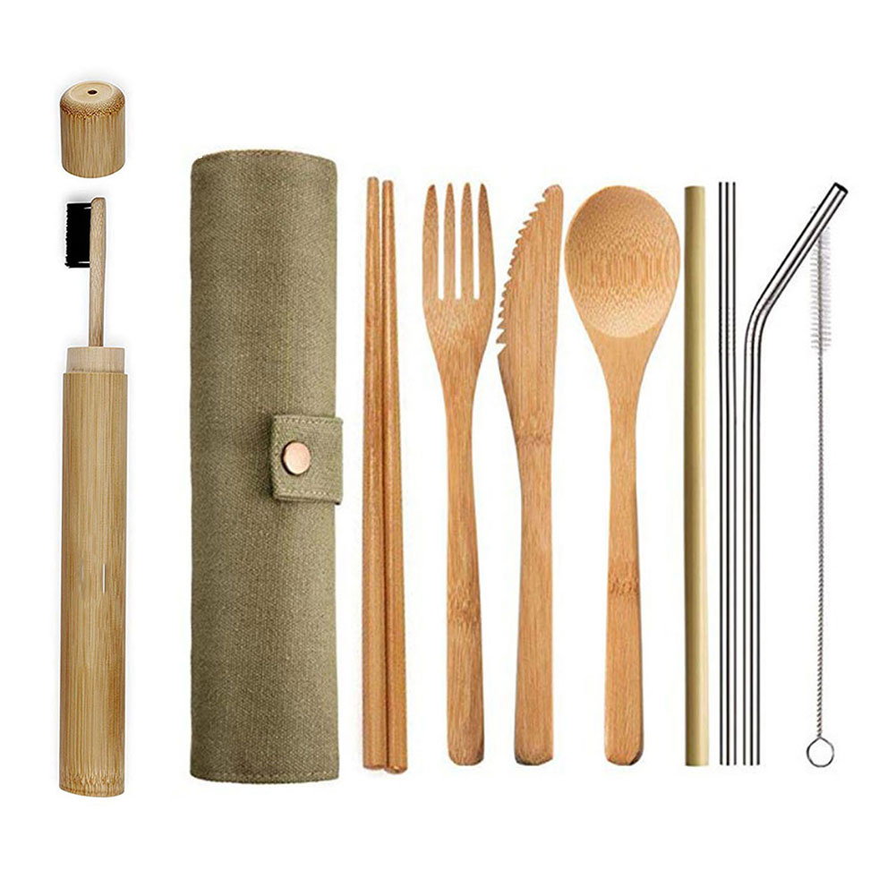 hot selling flatware sets flatware type and reusable feature biodegradable bamboo cutlery set