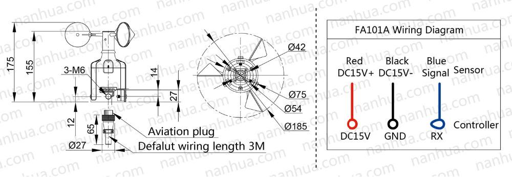 Nanhua Fa011a Wind Cup Anemometer  3 Cup Wind Velocity  Wind Meter Anemometer
