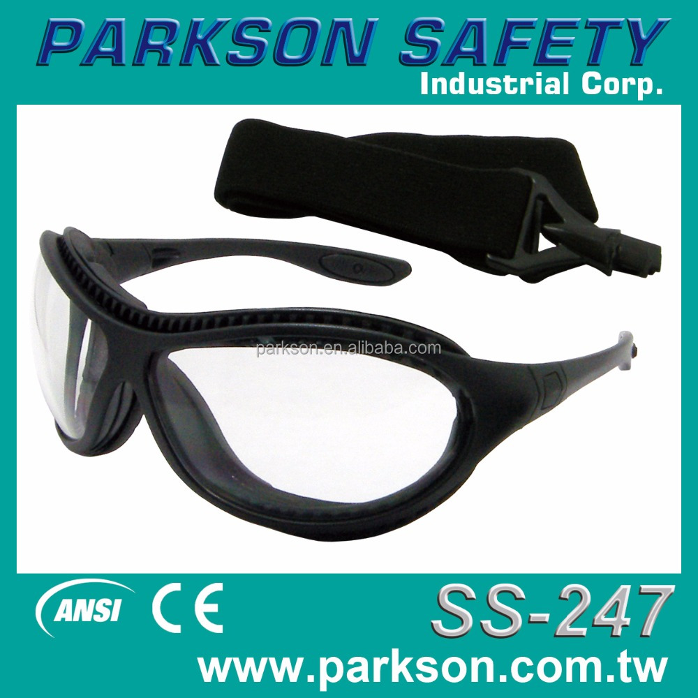 Taiwan Sports Safety Goggle EVA Elastic Band Available for High Density Activity CE EN166 ANSI Z87.1 SS-247 Safety Glasses