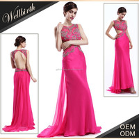 2015 High Fashion Backless Red Full Length Indian Evening Gown Dress