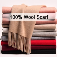 wholesale 180*40cm Winter women thick plain long 100% wool scarf with tassel