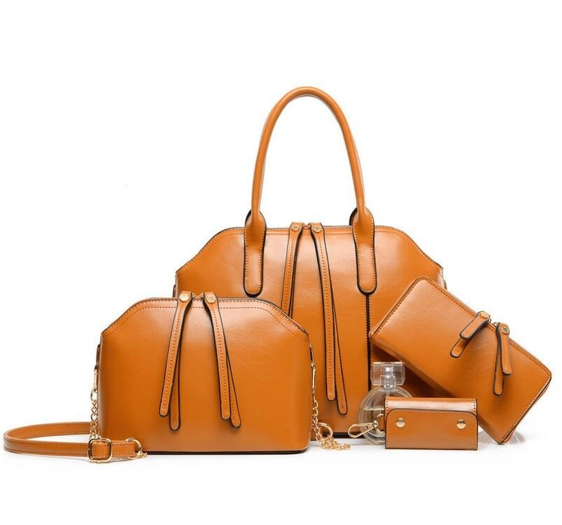 b61e438034 Wholesale fashion PU leather shoulder bag purses and ladies handbags 4  pieces in 1
