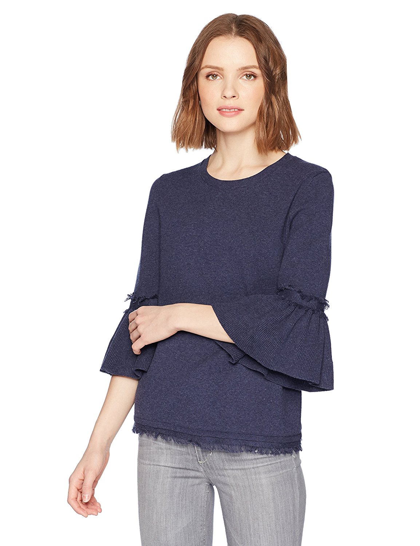 525 America Women's Fringe Tulip Sleeve 100% Cotton Sweater