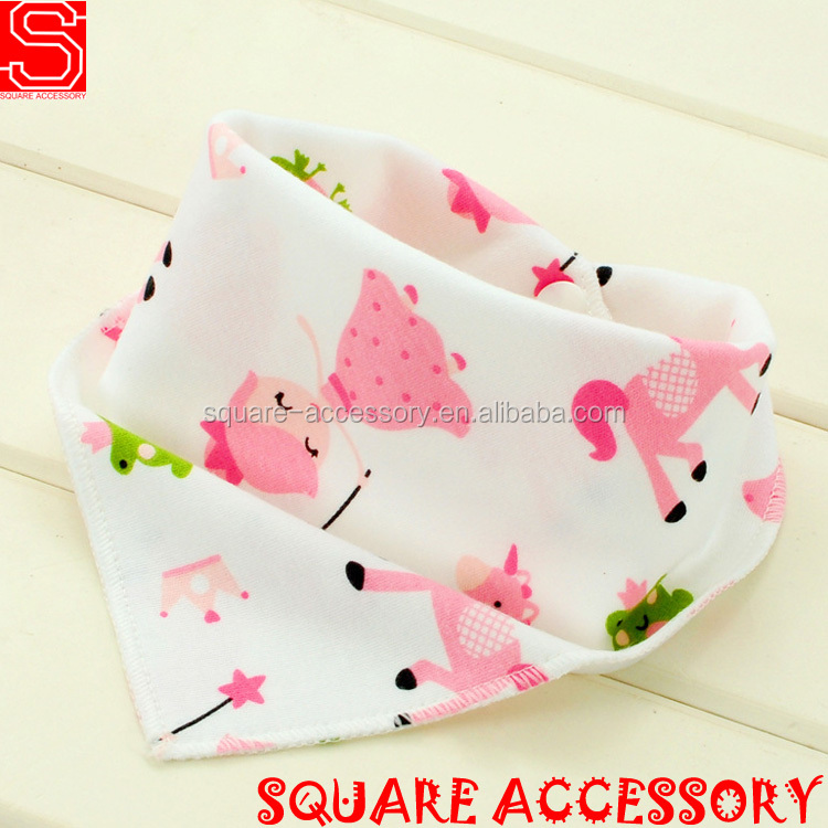 Promotion Colorful Organic Animal Printed Baby Bandana Drool Bibs for Baby