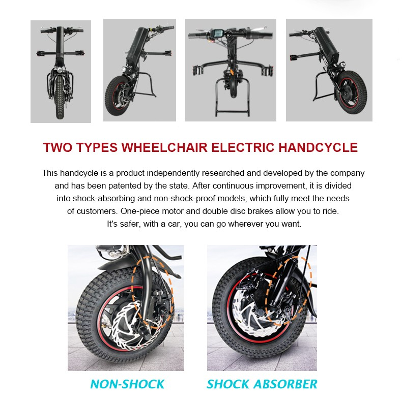 EU DUTY FREE 36V 250W Electric Handcycle Folding Wheelchair Attachment Handbike DIY Conversion Kits 36V 9AH Li-ion Battery
