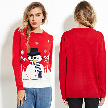 Custom Design Acrylic Wool Crew Neck Womens Ugly Christmas Sweaters