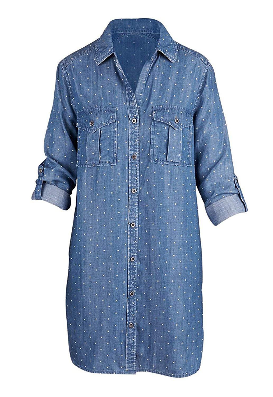 90e93a8749 Get Quotations · Philosophy Womens Tencel Tunic Polka Dot Print Roll Tab  Sleeve Button Fashion Denim Shirt Dress