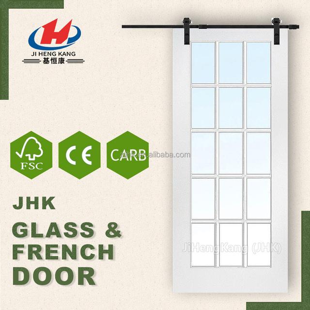 JHK G24 Soundproof Bathroom Door Glass Door Sliding System French Room  Dividers