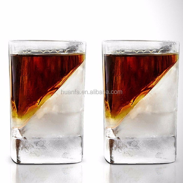 2016 Novelty Design Tableware 3oz Personalized Heavy Base Whisky Ice Cup Square Whisky Wedge Glass With Storage