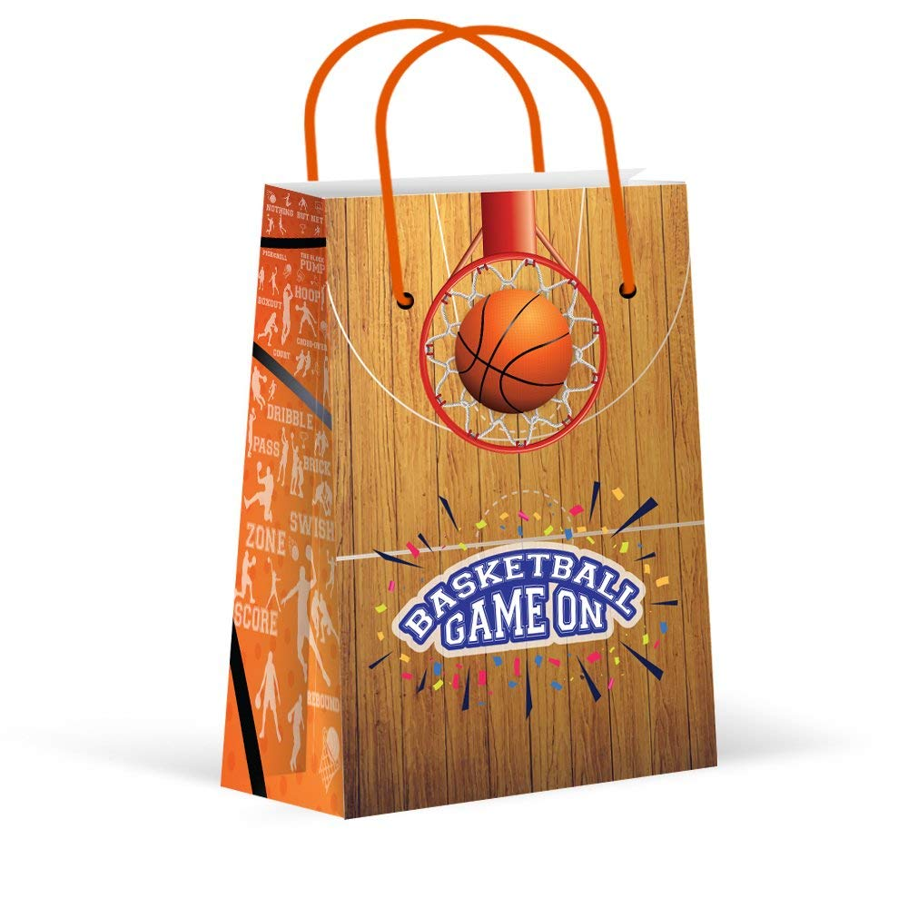 Premium Basketball Party Bags, Sports Treat Bags, New, Gift Bags,Goody Bags, Basketball Party Favors, Basketball Party Supplies, Decorations, 12 Pack