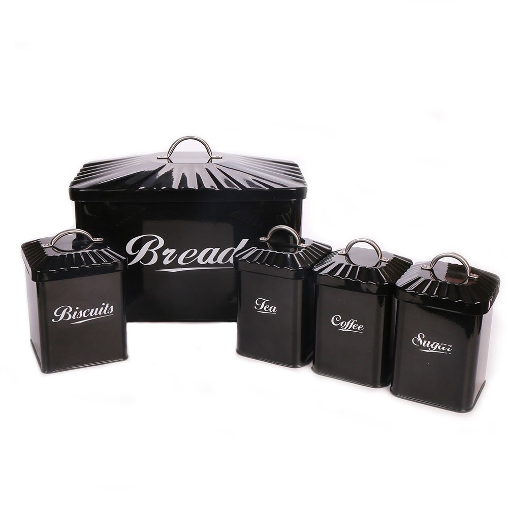 Hot Sale Black X649 Metal Square Home Kitchen Gifts Bread Bin/Box/Container Biscuit Tea Coffee Sugar Tin Canister Set
