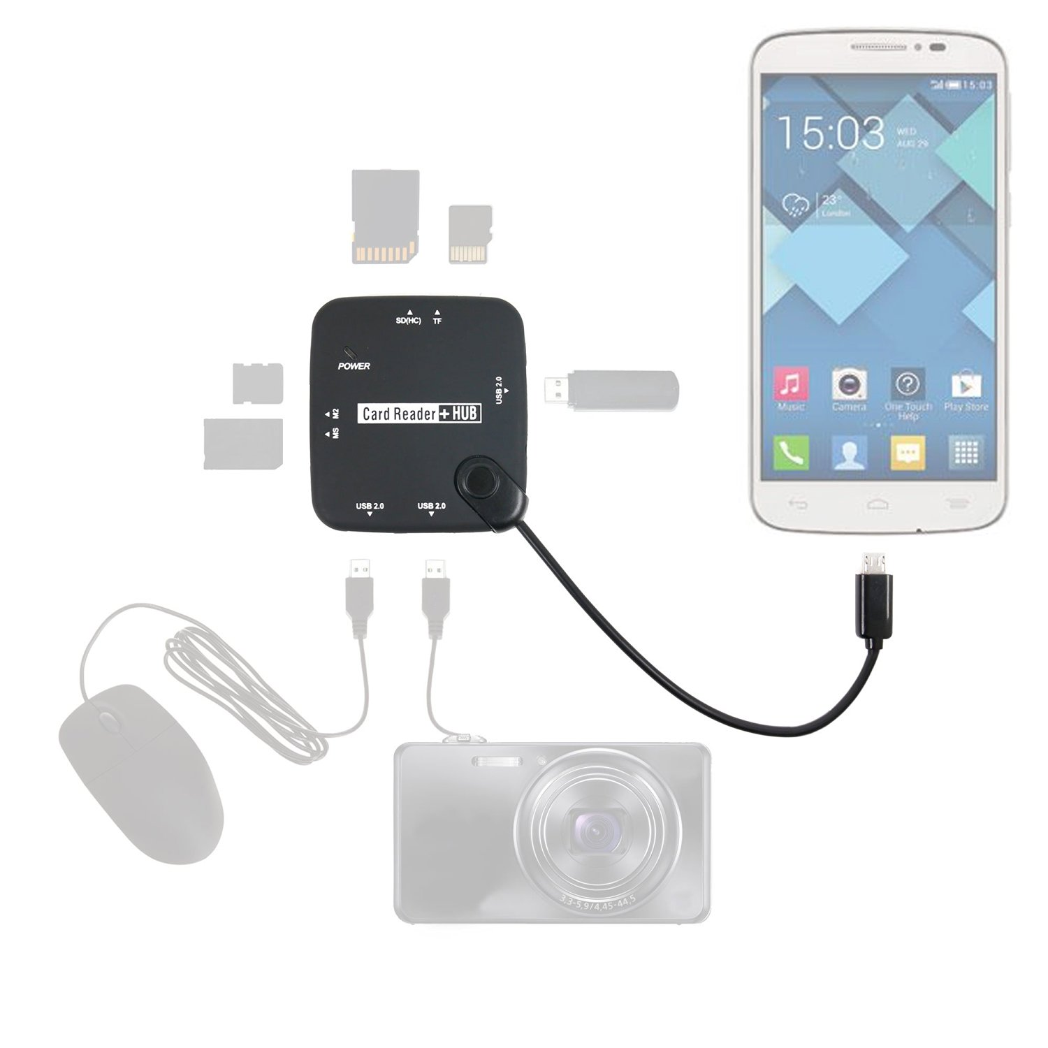"""DURAGADGET Multi-Functional All in One Card Reader + 3 USB (2.0 Compatibility) HUB with Micro USB Connectivity for Alcatel OneTouch IDOL 3 (4.7), Alcatel OneTouch IDOL 3 (5.5""""), Alcatel One Touch Pop Fit, Pop C7, Pop C5, Pop S3, Pop S7, Pop S9, Pop 2 (5), Pop 2 (4.5), Pop 2 (4), PIXI 3(3.5) & PIXI"""