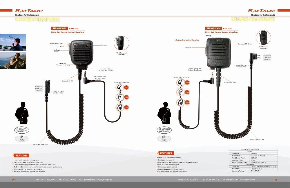 Handheld Remote Peaker Microphone For Walkie Talkie