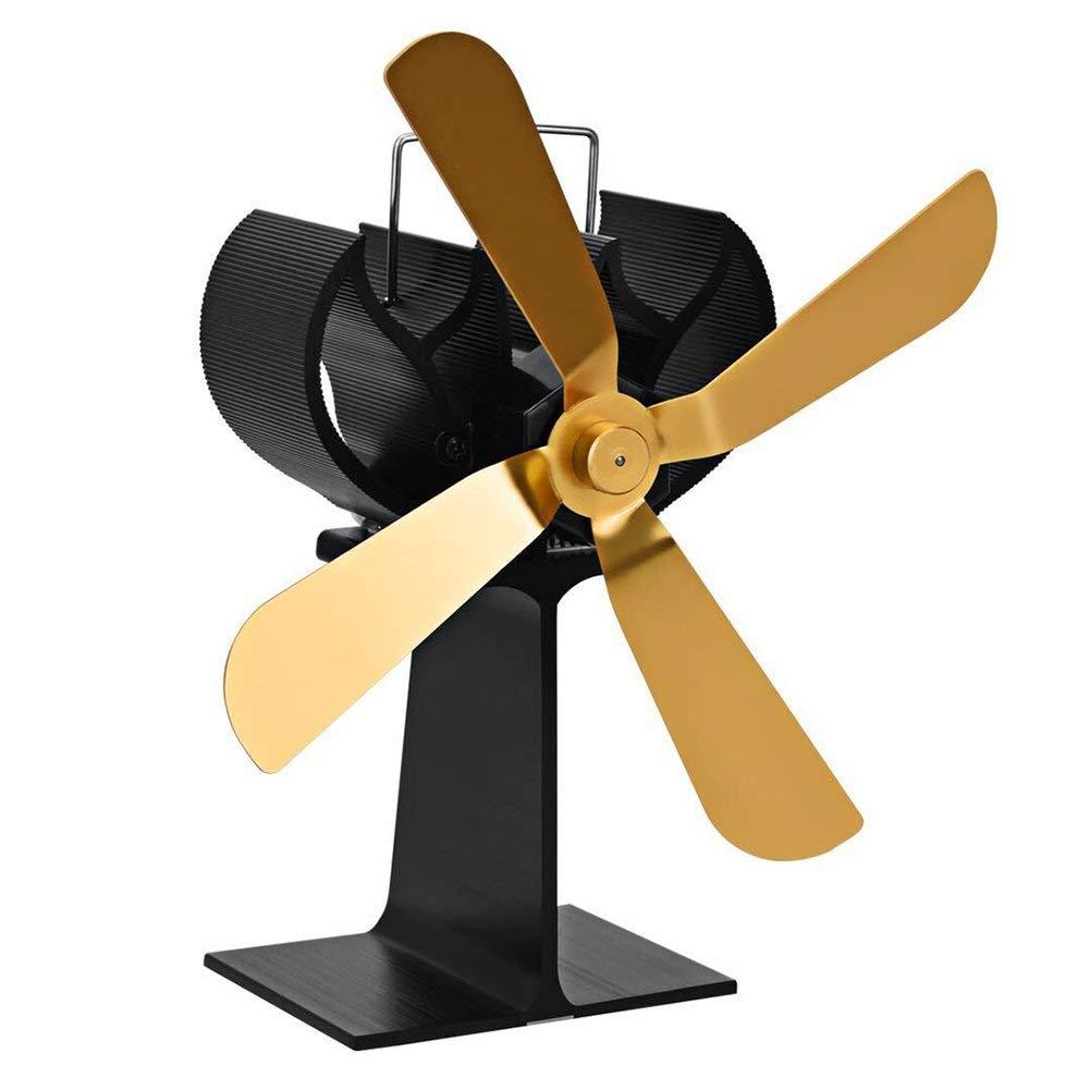 LianLe 4 Blade Heat Powered Stove Fan,Silent Fireplace Fan for Wood/Log Burner,Eco Friendly