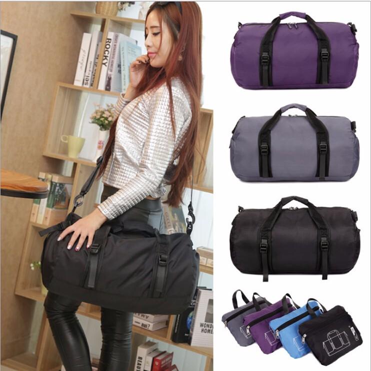d1eaf34b09 Waterproof Nylon Foldable Duffel Bag Gym Folding Sport Travel Bags for women
