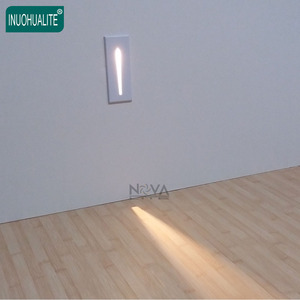 Modern Rectangle Narrow Beam 12 Volt Indoor Outdoor Recessed Led Stair Step Wall Light