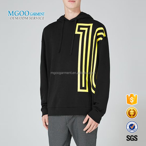 MGOO Garment Black Extreme Fit Hoodie With Extra Long Sleeves Custom Pattern Sweatshirt With Hood