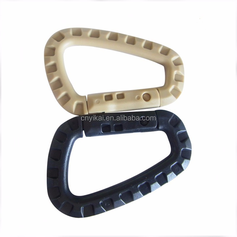 D shaped plastic mountaineering buckle,carabiner clip,spring hooks