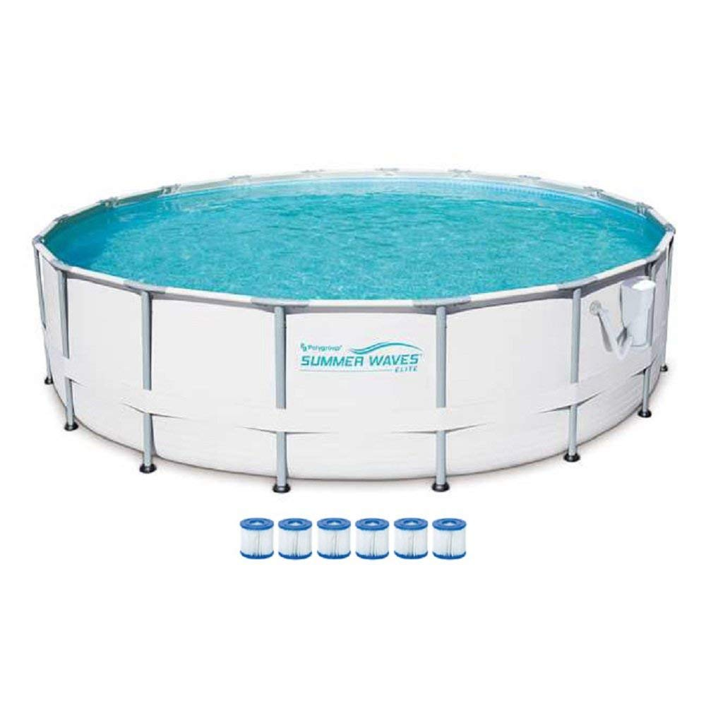SUMMER WAVES Elite 16-Foot Frame Pool Set with Filter Pump + 6 Filter Cartridge Type VII, Type D