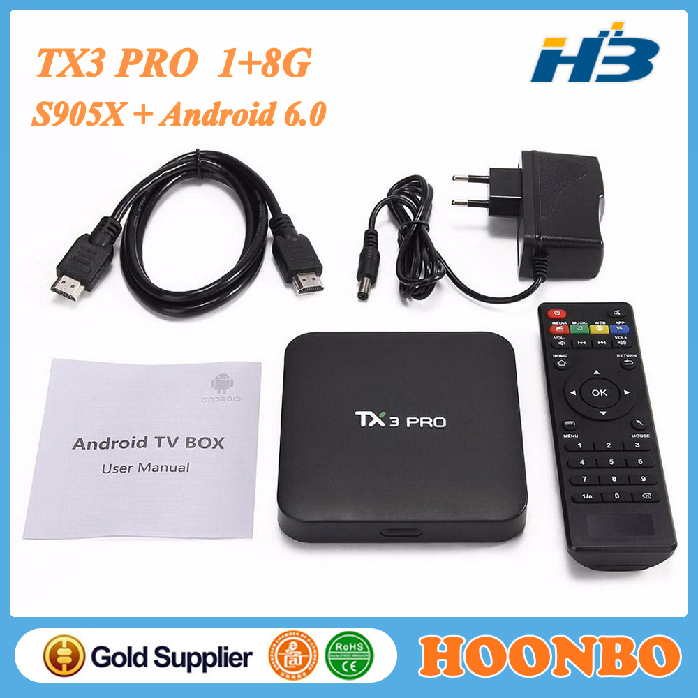 TX3 Pro Android 6.0 Cheapest Android TV Box Amlogic S905X 1GB 8GB Black Box Internet TV Receiver