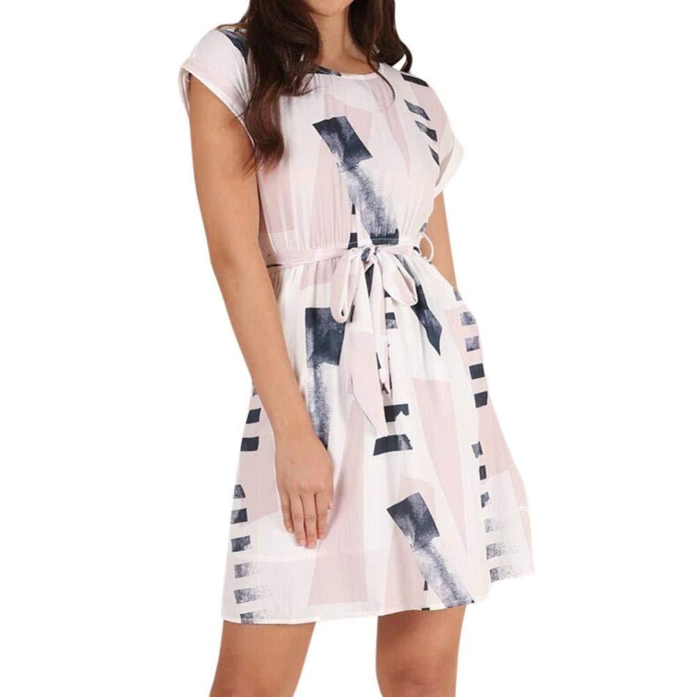 Usstore Dresses For Women, Bandage Print Summer Short Formal O-Neck Dresses
