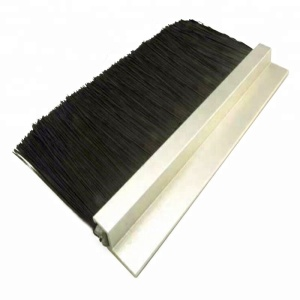 Door Security Strip Black Bristle Nylon Aluminum Window Seal Brush
