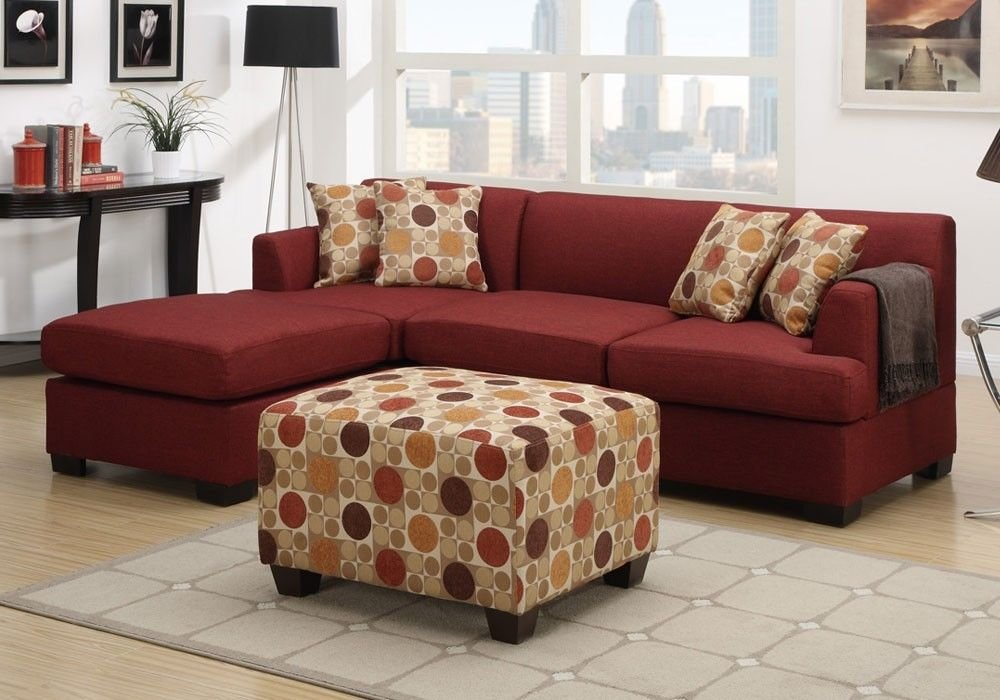 Get Quotations · 1PerfectChoice Sectional Reversible Chaise Sofa Loveseat  Couch Blended Linen Dark Red + Ottoman