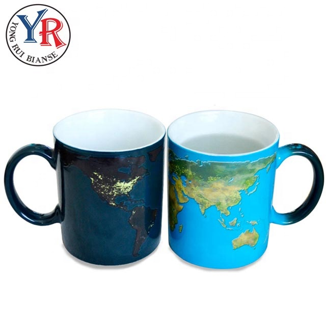 World Map Cheap Gift Items Sublimation Color Changing Mug For Travel