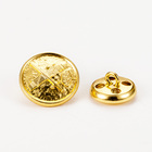 Custom golden plating Anchor logo Metal Shank Button for sewing