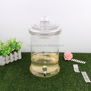 Cylinder Party Water Dispenser With Tap Glass Target 5l Huge Glass