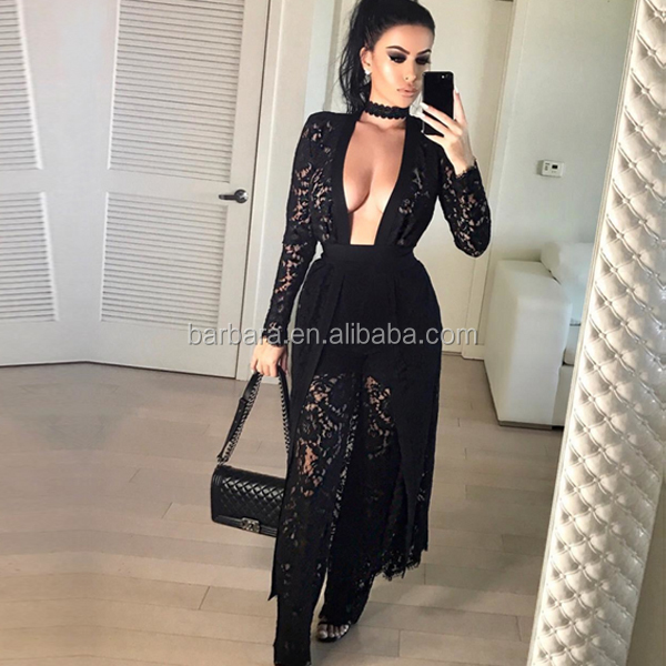 2016 Winter New Black Lace Long Sleeves Coat Casual Jacket Three Pieces Sets highquality