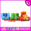 Colorful wooden Pull Shape Block Train Toy for kids,EN71 top sale pull line toy vehicle wooden toy train OEM W05C025