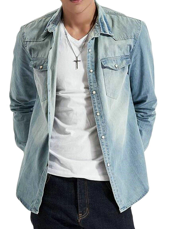 79c94a2c7 Get Quotations · Pandapang Mens Long Sleeve Slim Fit Demin Button Down  Jacket Coat Shirt Light Blue L