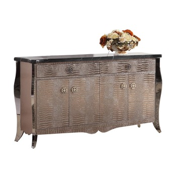 F429 Modern Contemporary Stainless Steel Silver/golden Imitated Leather  Luxury Neoclassic Sideboard Buffet Table Shoe