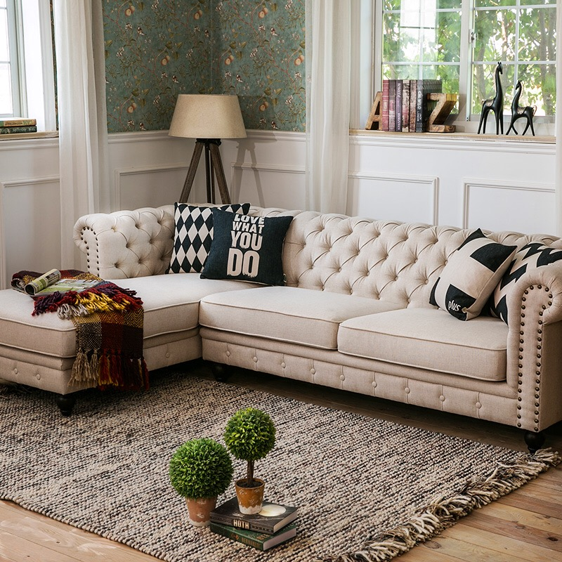 Living Room Corner Chesterfield Tufted