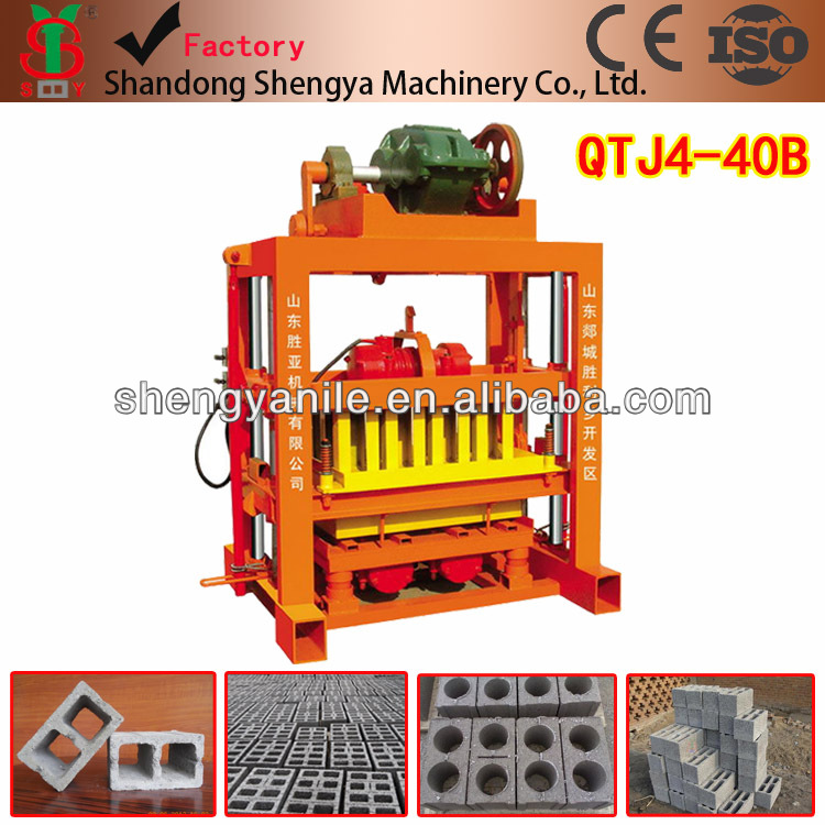 Shengya qtj4-26c / qyj 4-40 hollow block making machine low investment high profit