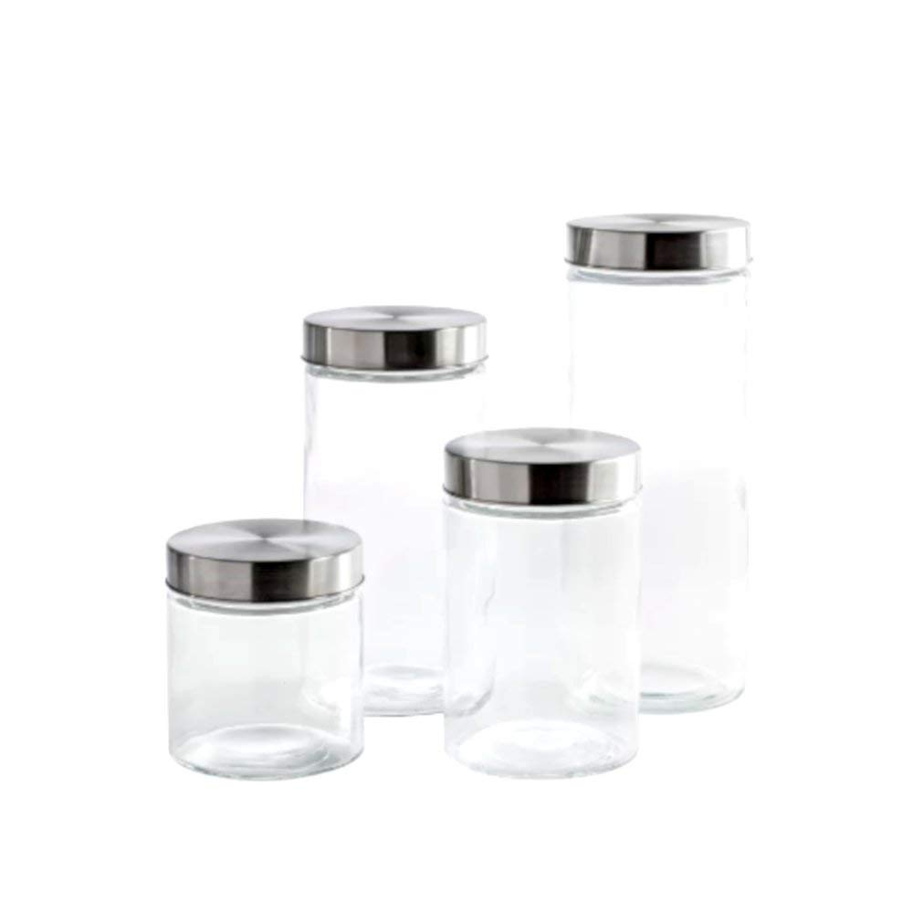 Get Quotations 4 Piece Round Top Gl Kitchen Canister Set Commercial Modern Of Contemporary