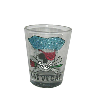 funny glitter shot glass with pirate design